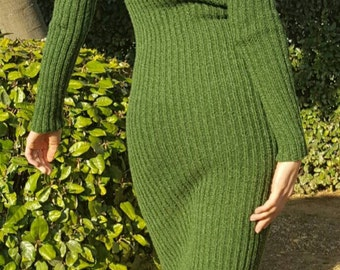 Green melange merinos wool winter knitted women's  dress Free Shipping