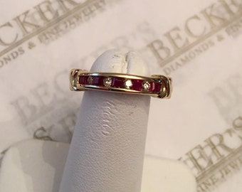 Lovely vintage 14k yellow gold Square Ruby and Round Diamond Channel Wedding Band Ring with Gold X Bars, .31 tw, size 6.25