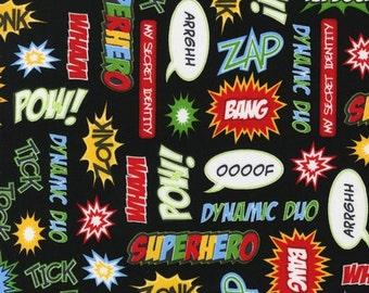 Superhero Fabric / Marvel Comics Fabric / Pow Zoom Zap OOOF / Robert Kaufman 13231  / Yardage and  Fat Quarters - Camelot Fabrics 13020306