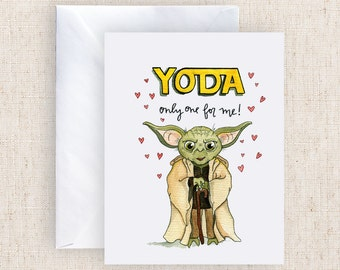 Yoda only one for me Star Wars Watercolor Greeting Card