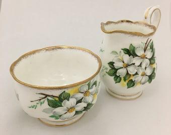 Royal Albert White Dogwood Bone China Sugar Bowl & Creamer, Made In England