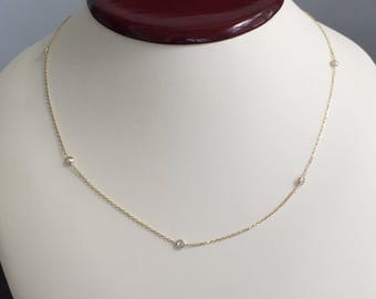 """14k solid yellow gold and 3mm white cubic zirconia necklace, 18"""", spring ring clasp, cz by the yard, cz necklace"""