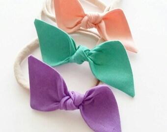 Nylon headbands set {Summer} baby bows, hair clips