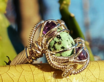Turquoise and Amethyst silver wire wrapped ring