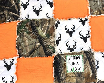 Camo blanket, buck rag quilt, realtree camo, gifts for him, camo blanket, hunting blanket, hunter quilt, camo quilt, fathers day camo gift
