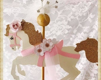 Carousel Horse Cake Topper - Carousel Horse Party Decorations - Carousel Horse Party Decor - Carousel Horse Birthday Party Cake Topper