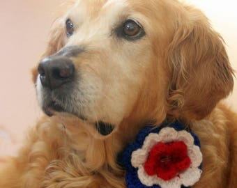 Fourth of July Dog Flower Collar, Dog Collar Accessory, Dog Flower Charm, Independence Day Dog Accessories, 4th of July Dog Collar Accessory