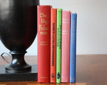Bright Colors Vintage Books, Antique Books, Vintage Book Collection, Book Décor, Wedding Decor, Home Decor, Centerpiece, Office Décor