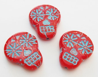 2 -Coral Red with Turquoise Wash 20x17mm Sugar Skull Beads, Czech Glass Beads, Flat, Opaque, Day of The Dead, Monkeyshine Beads