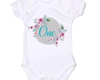 Baby Girl first birthday Onesie romper bodysuit