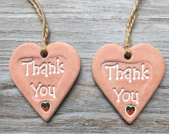 THANK YOU Terracotta Handmade Air Dry Clay Heart with Strawberry Detail - Can be Used as a Gift Tag, Small Wall or Door Hanging, Keepsake