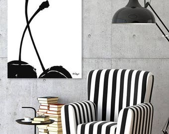 "Instant Download, cherry print, scandinavian art, black decor, minimal cherry art, black cherry, minimalist printable art - ""Black cherry""."