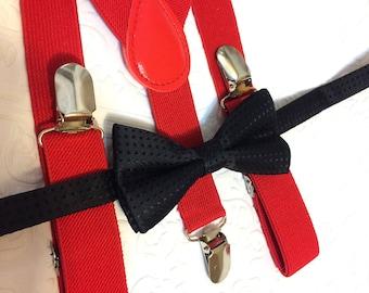 Baby suspenders, black baby bow tie, baby bow tie, suspenders, red suspenders set, black bow tie, red suspenders, birthday boy set, wedding