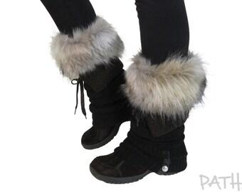 """Boot cuffs """"Fox"""",  fur leg warmers, fur boot toppers, wellies, faux fur socks, boots accessory."""