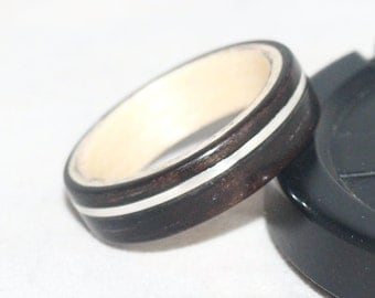 Wooden Rings - Bentwood Maple & Ebony with Silver Inlay Rings Mens Wood Rings, Womens Wood Rings, Wood Engagement Rings, Wood Wedding Bands