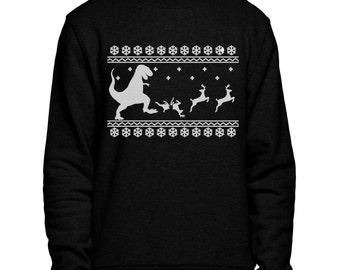 T-Rex Christmas Dinner Sweater Jumper Fair Isle Dinosaur Funny Eating Reindeer Men Women Kids