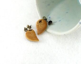 Little earrings, simple cypress wood drop