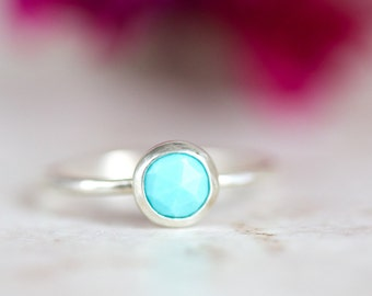 Turquoise Ring, Rose Cut Turquoise Ring, Turquoise and Silver Stacking Ring