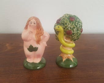 Biblical Salt and Pepper Shakers - Eve and Snake