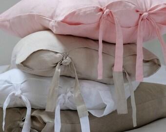 Linen Pillowcase, Linen Pillow Cover, Tie Side, Linen Bedding. Pair. Shabby Chic