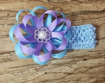 Purple /blue flower crochet headband