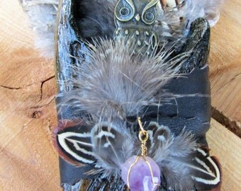 Beautiful and Unique Owl and Amethyst Crystal Smudge fan