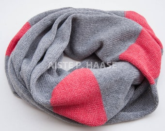 Cashmere snood, Cashmere-lambswool-viscose infinity scarf, Cashmere infinity scarf, Knitted grey scarf,Infinity scarf, Loop scarf
