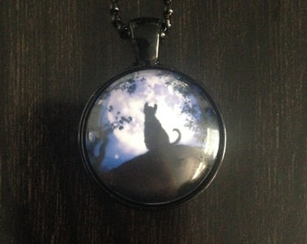 Black Cat Purple Moon Necklace CLEARANCE