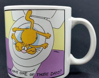 1987 Vintage Andrews & McMeel Cat in Toilet Cup Mug Humor Comic Cartoon Stress