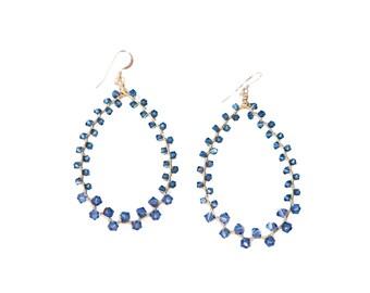GRETA EARRING * sapphire swarovski wrap earring