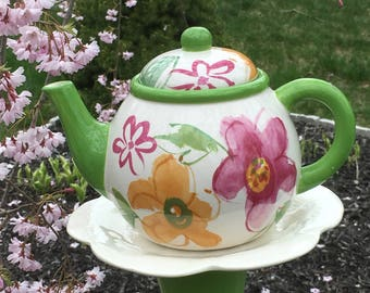 Teapot garden stake - teapot feeder - garden whimsy - upcycled ceramic - garden decor - repurposed ceramic - reclaimed garden art - yard art