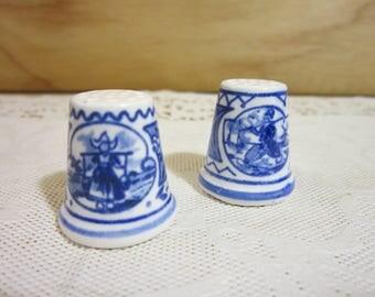 Set of Two Vintage Delft Hand Painted Porcelain Thimbles
