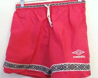Kid's Vintage 80's,Light-Weight Florescent PINK Work-Out Shorts by UMBRO.YM