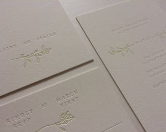 CLAIRE - minimal organic letterpress wedding invitation | modern fairytale