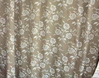 Lovely Long Length of French Mattress Ticking Fabric, Floral Damask White & Caramel. Vintage  4m  (5429)
