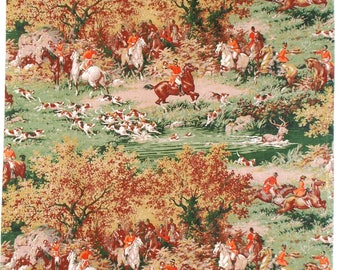 Vintage French Toile de Jouy Fabric, Unused Length, Hunting Scene, Horses, Deer, Dogs