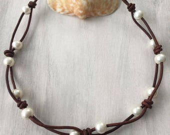 Leather Pearl Choker