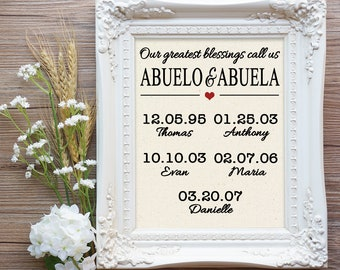 Abuelo and Abuela Gift, Gift for Abuelo and Abuela, Abuela Gift, Gift for Spanish Grandparents, Spanish Grandparent Gift, Mother's Day