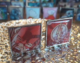 Unique Recycled Comic Book 'The Flash' Square Comic Cufflinks - Upcycled & Unique Comic Cufflinks