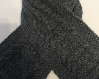 Handknit Seaman's Grey Gray Scarf