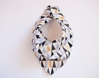Bandana Bib -  Gold, Black, Mauve & Grey Triangle - Gender Neutral