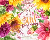 Sunflowers, Dahlias. Watercolor Floral elements, Boho flowers, Rustic Hand Painted Wedding Clipart. Digital invitations. Greeting card png