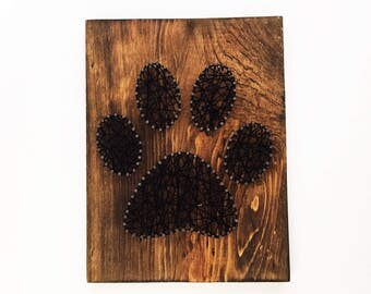 Paw Print String Art, Black Nail Art, Unique Handmade Gift Idea, Home Decor Wall Art, Dog Lover, Cat lover, Rustic Decoration, Realtor Gift,