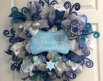 Hanukkah Wreath, Hanukkah Decorations, Hanukkah Decor, Happy Hanukkah, Channukkah Wreath, Chanukah Wreath, Blue and Silver Wreath