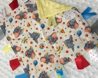 Personalized Tag Blanket Sensory Ribbon Blanket Lovey- Disney Dumbo Circus with Minky Dot