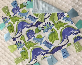 Personalized Tag Blanket Sensory Ribbon Blanket Lovey- Blue and Mint Dino Dinosaurs and Minky Dot
