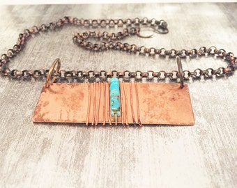Turquoise Bar Necklace -- Copper Rustic -- Turquoise Necklace -- Handmade Artisan Jewelry