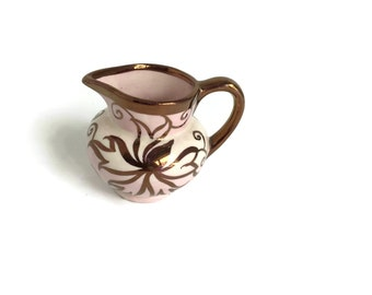 Lancaster LTD. Creamer - Pretty Vintage English Ware Pink and Copper Lusterware on White Porcelain Creamer - Made in Hanley, England