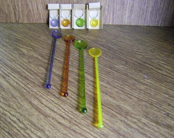Colorful Glass stirrers / swizzle sticks/ matching glass charms / Blue brown green yellow/ glass spoon stirrers/ bar ware/ Father's Day