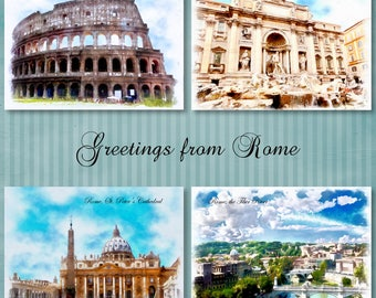Digital download, instant download, Rome postcards, Rome prints, Rome watercolor, St. Peter's Basilica, Colosseum, Trevi Fountain, Italy